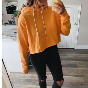 Yellow orange cropped hoodie
